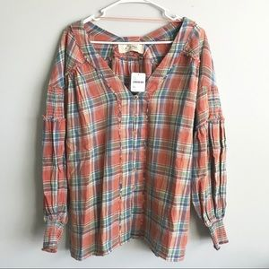 NWT Free People Orange Button Down Flannel Top